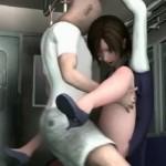 電車で痴漢陵辱され舌を出してアヘ顔絶頂するOL【エロアニメ】