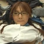 ダブルでフェラチオする三つ編みお下げのメガネ娘【田中美久 】