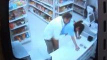 コンビニの女店員がレジの上で犯されるその全貌が防犯カメラに録画されていた【松島かえで】