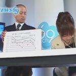 ニュース報道中にテーブルの下で電マを押し当てられ悶えながら原稿を読み上げ苦悶の表情を浮かべるアナウンサー